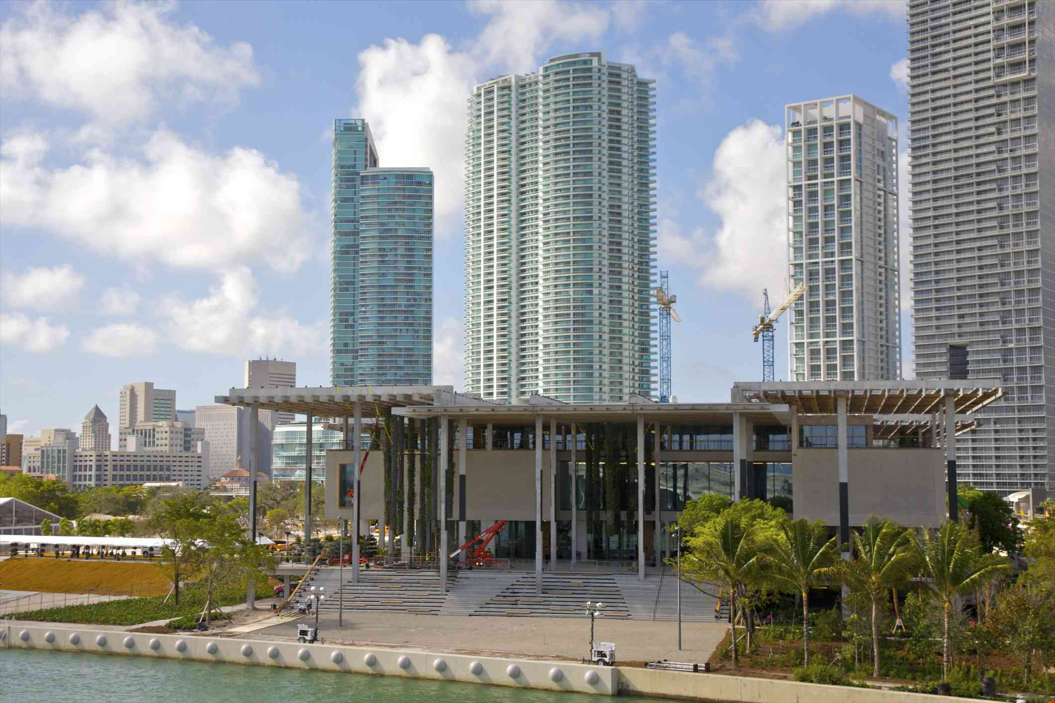 Perez Art Museum with Miami skyscrapers in background
