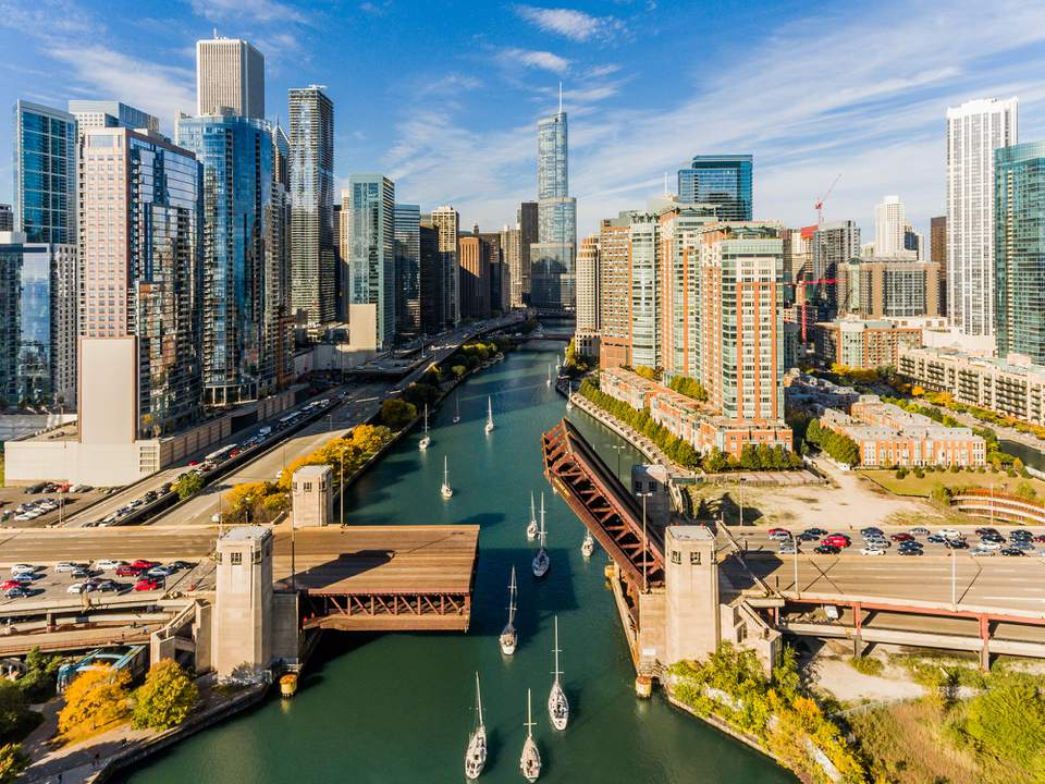 High Angle View Of River Amidst Buildings In Chicago