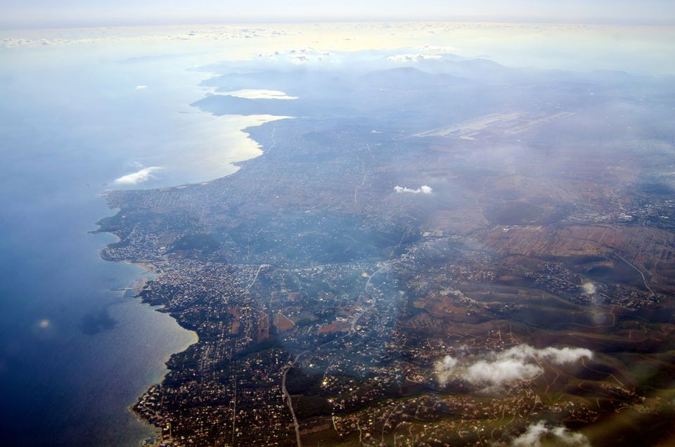 Greek coast from airplane