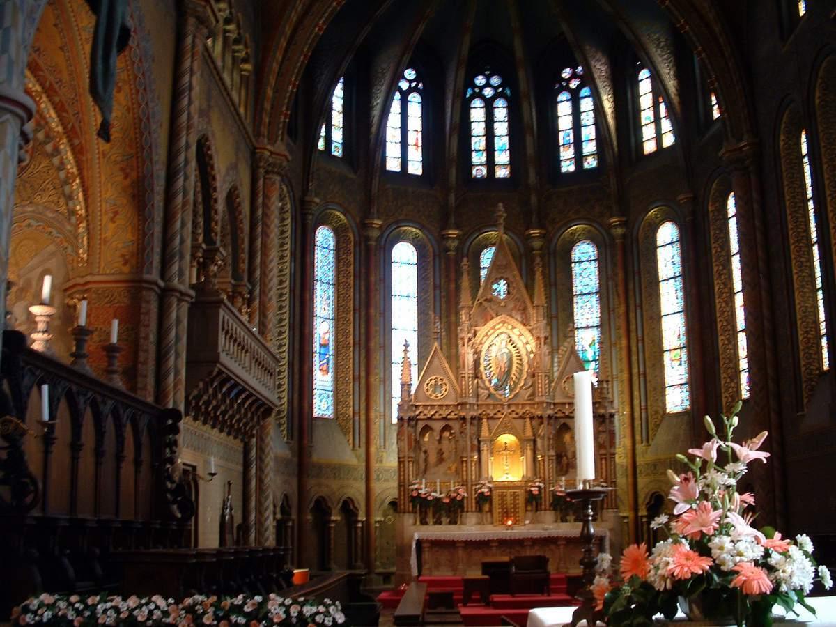 Mathias Church Interior in Budapest, Hungary