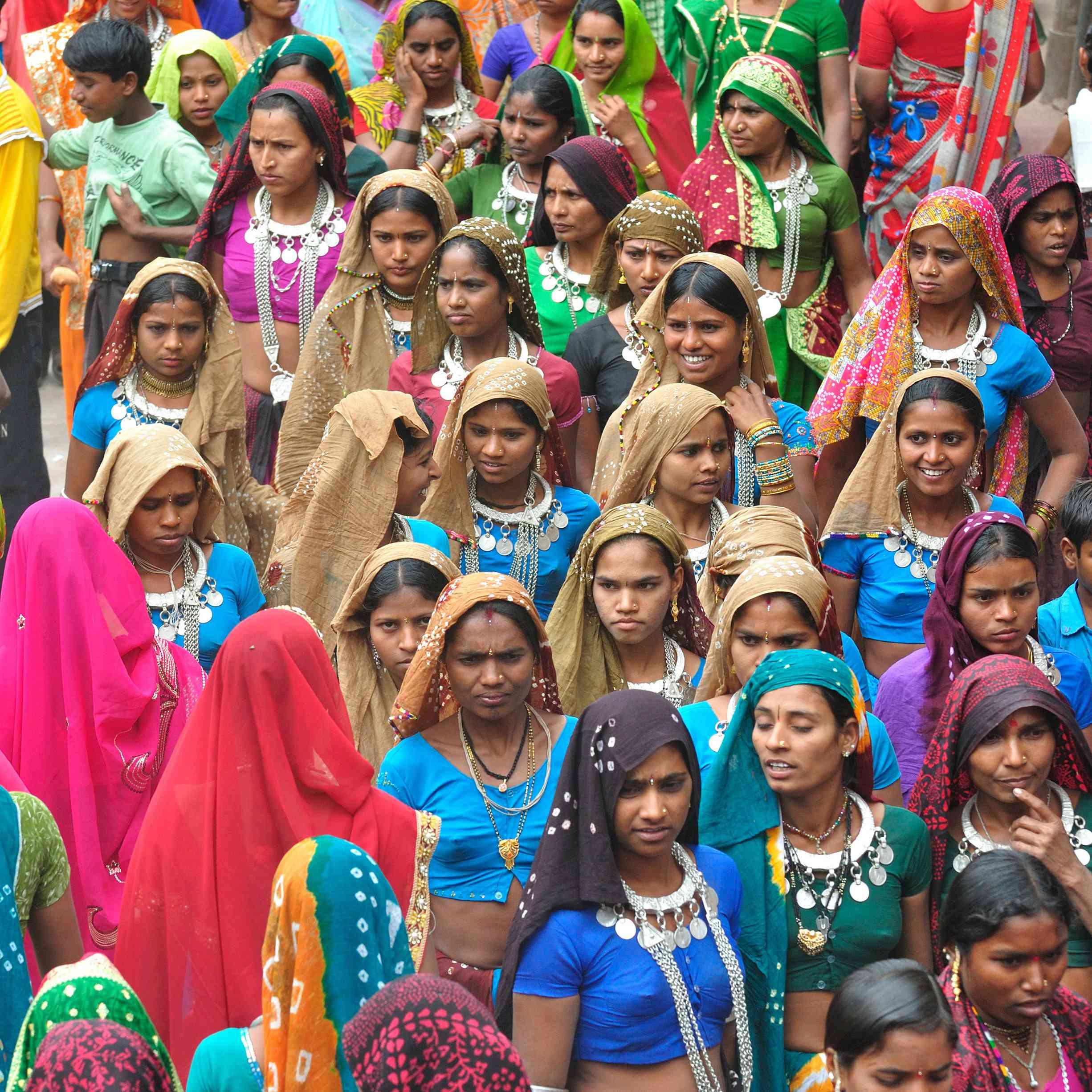 Tribals enjoying holi festival, Kawant, Gujarat, India