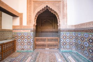 A colorful tiled building in Marrakesch