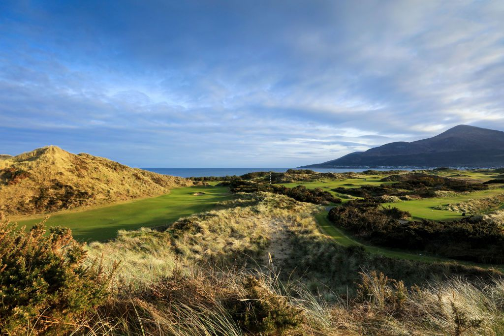 Royal county down golf course with heather and sea views