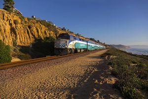 Coaster Commuter Train passing near Del Mar in San Diego County