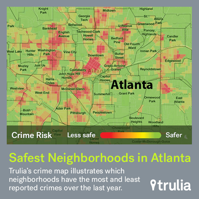 Road Map Of Atlanta Georgia.The Safest Neighborhoods In Atlanta