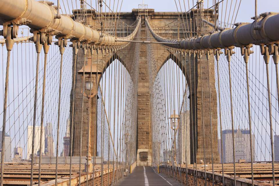 Pedestrian Level of the Brooklyn Bridge, New York City, pedestrian point of view