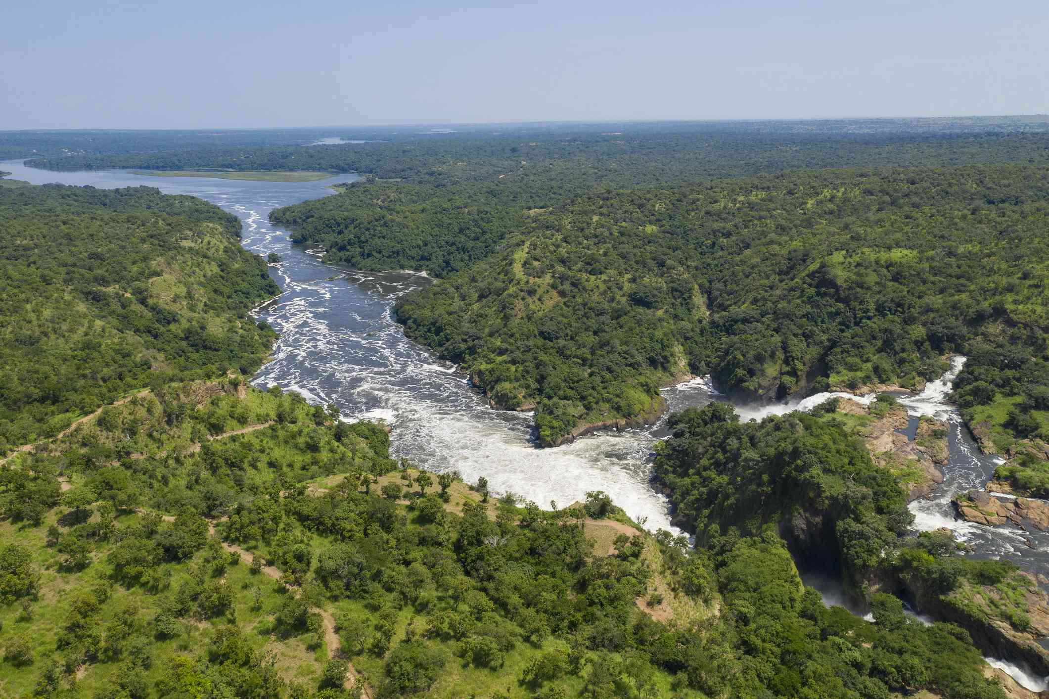 Distant view of the Murchison Falls and the Nile River in Uganda