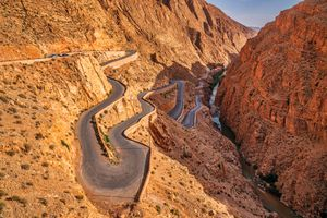Switchback road leading up the Dades Gorge, Morocco