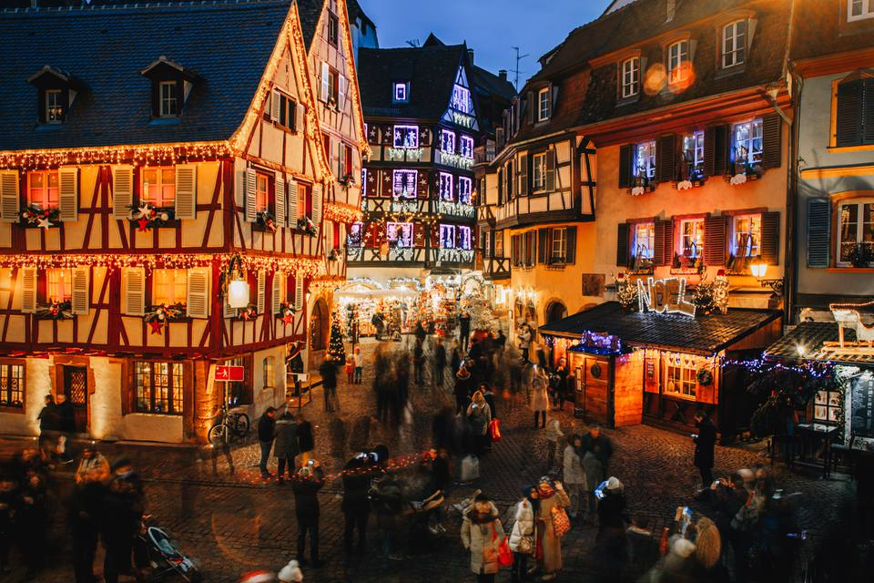 Old town illuminated and decorate like a fairy tale in Christmas festive season in Colmar, Alsace, France
