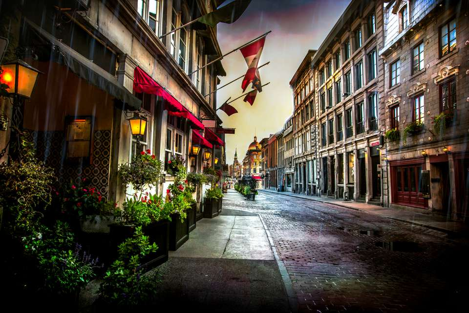 Cobblestoned St. Paul Street in the Old Montreal district of Montreal, Quebec, Canada.