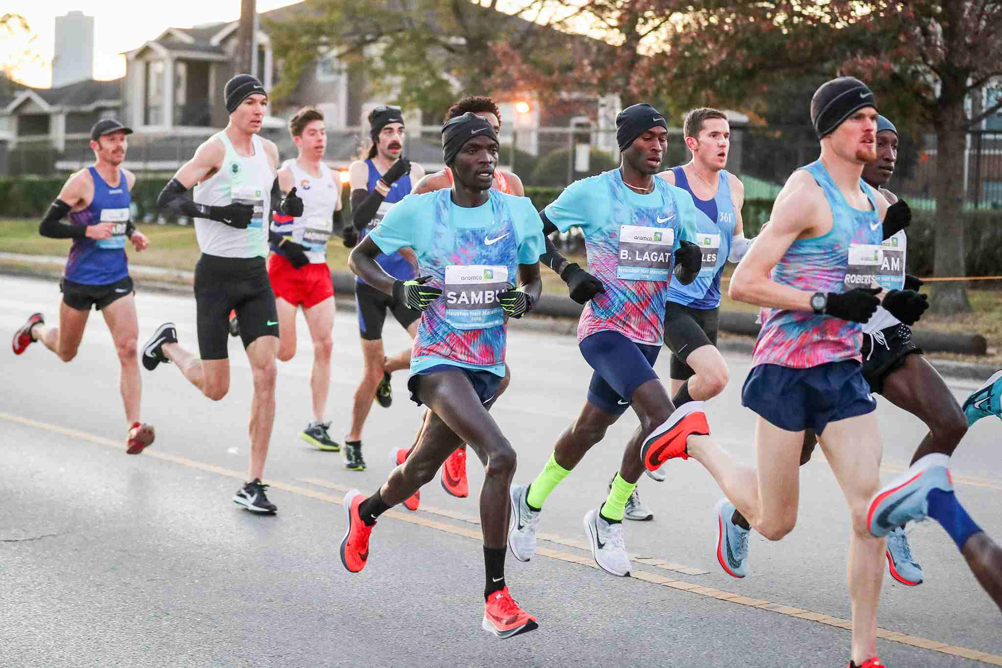 Runners in the Chevron Houston Marathon