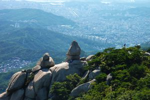 Birds' eye view of Bukhansan National Park in Seoul, South Korea