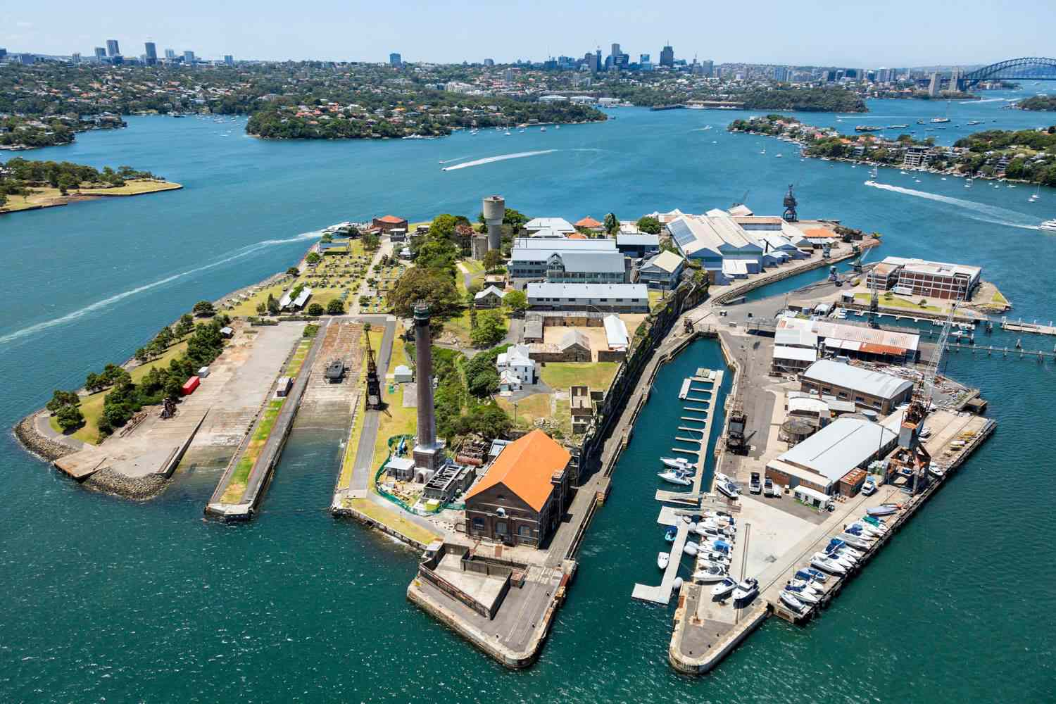 Aerial view of Cockatoo Island in Sydney Harbour