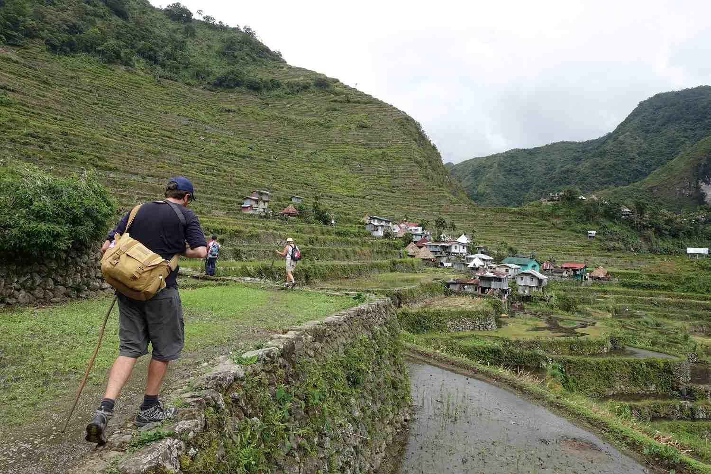 Walking along the Batad Rice Terraces