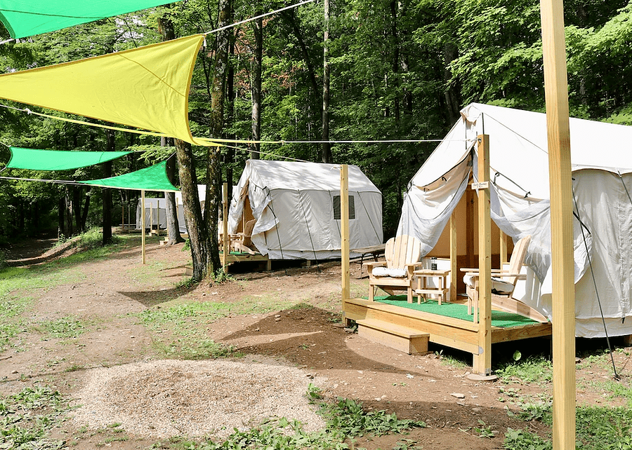 Glamping tents at Treetopia Campground