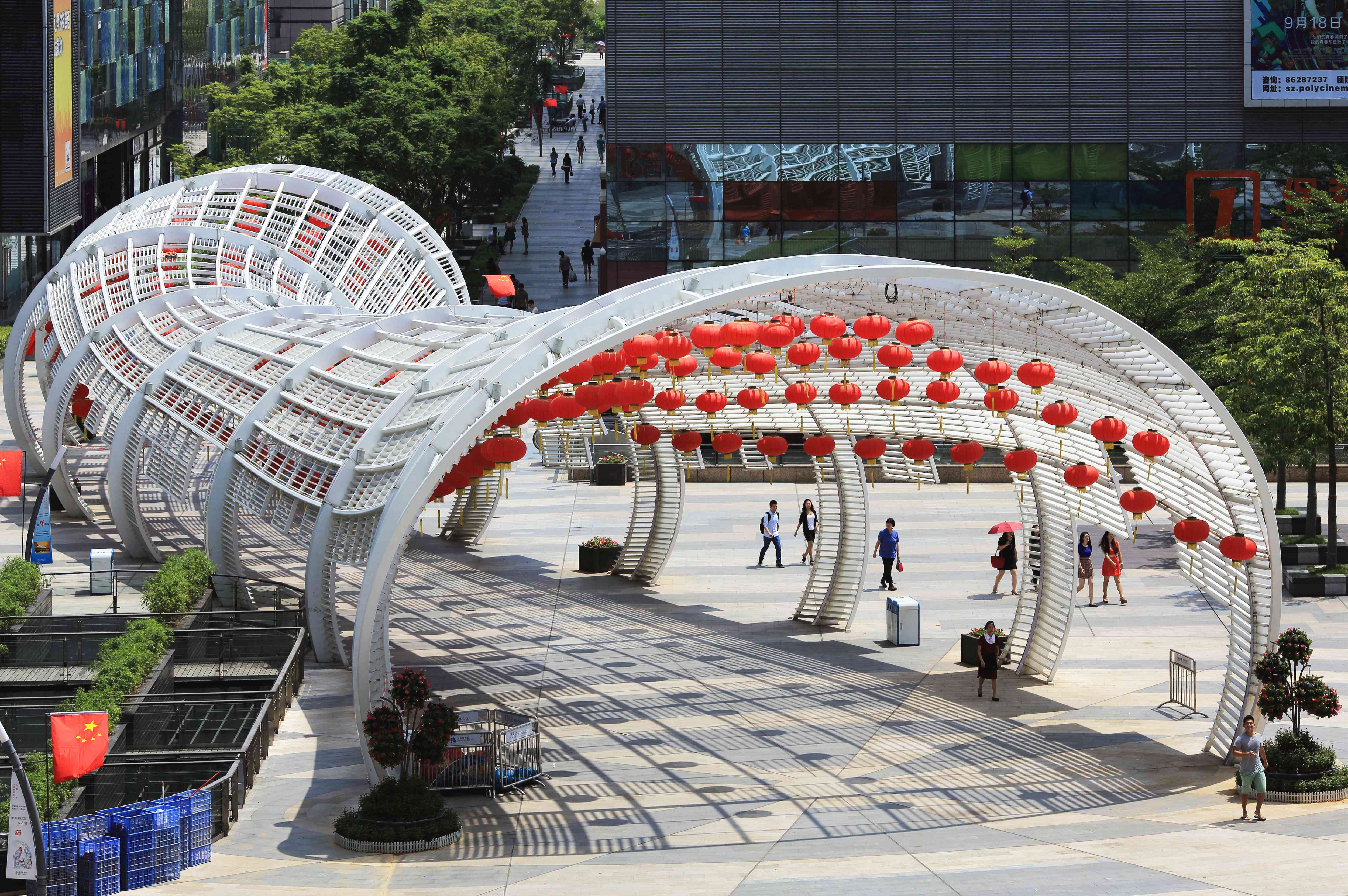 Light tunnel at Coastal City mall in Shenzhen