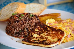 Typical food in Costa Rica , breakfast Gallo Pinto