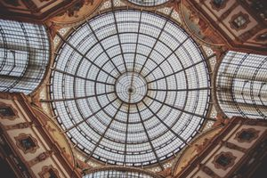 The glass dome of the Galleria Vittorio Emanuele II in Milan, Italy