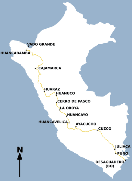 Huancayo Peru Map.The Three Major North To South Roads In Peru