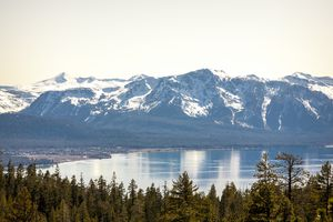 Views of South Lake Tahoe from the Tahoe Rim Trail in late winter in Stateline, NV.