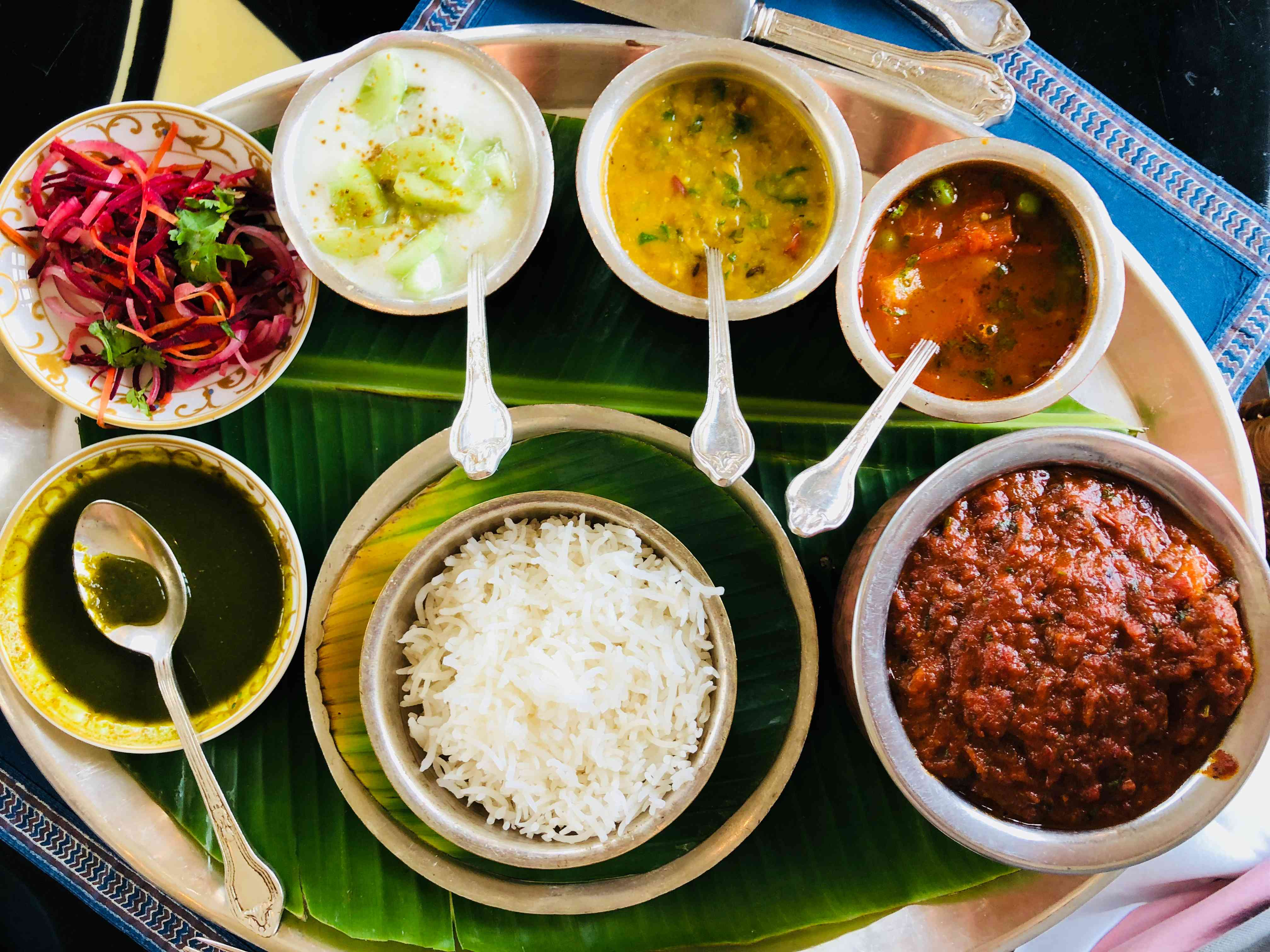 Thali with curry, rice and sauces