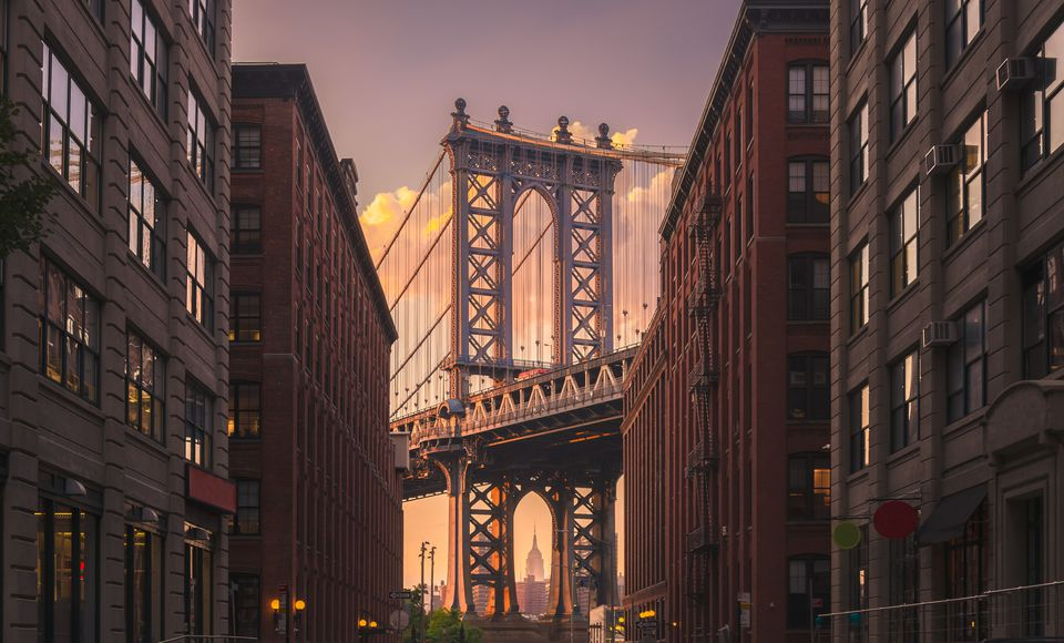 Manhattan Bridge in the evening. Shot in Brooklyn, New York