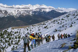 Spain, Aragon, Pyrenees, Ordesa and Mont Perdu national park, snowshoe hinking