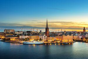 Sunset over Riddarholmen church in old town Stockholm city, Sweden