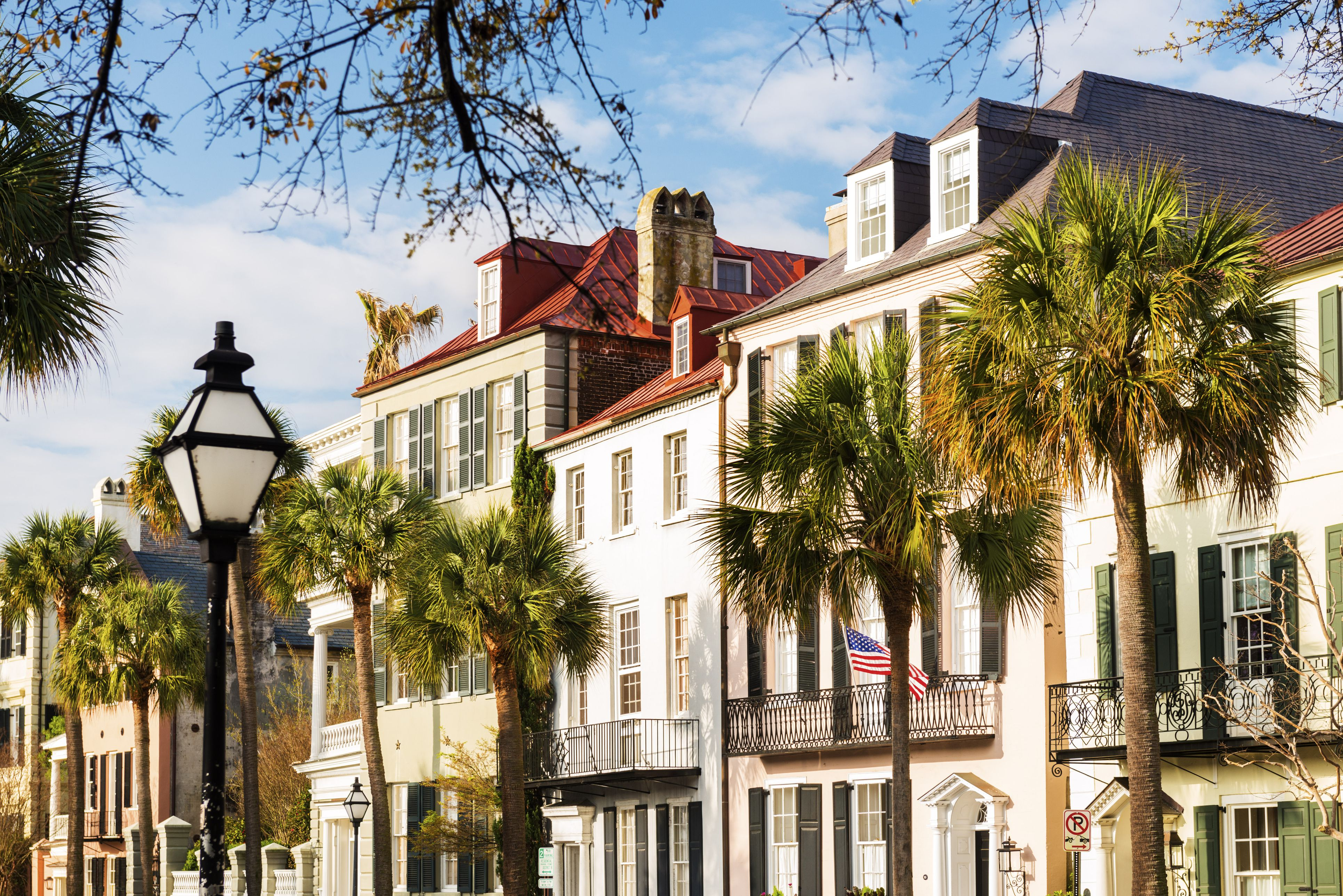 USA, South Carolina, Charleston, Colorful town houses in historical centre