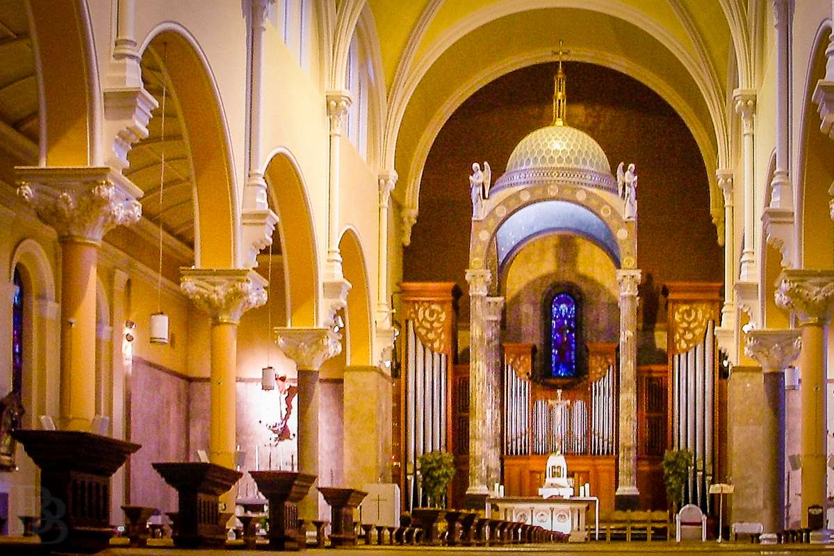 The interior of Our Lady of Mount Carmel, with a view of the altar and organ