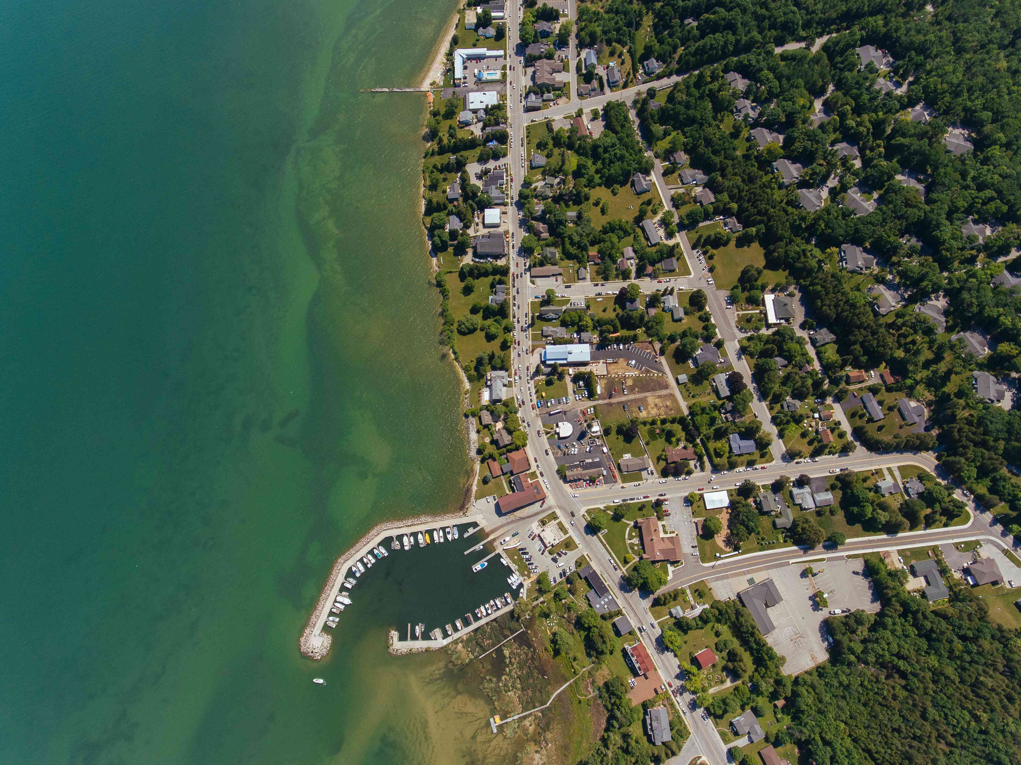 Baileys Harbor on the Door County Peninsula Captured by an Aerial Drone