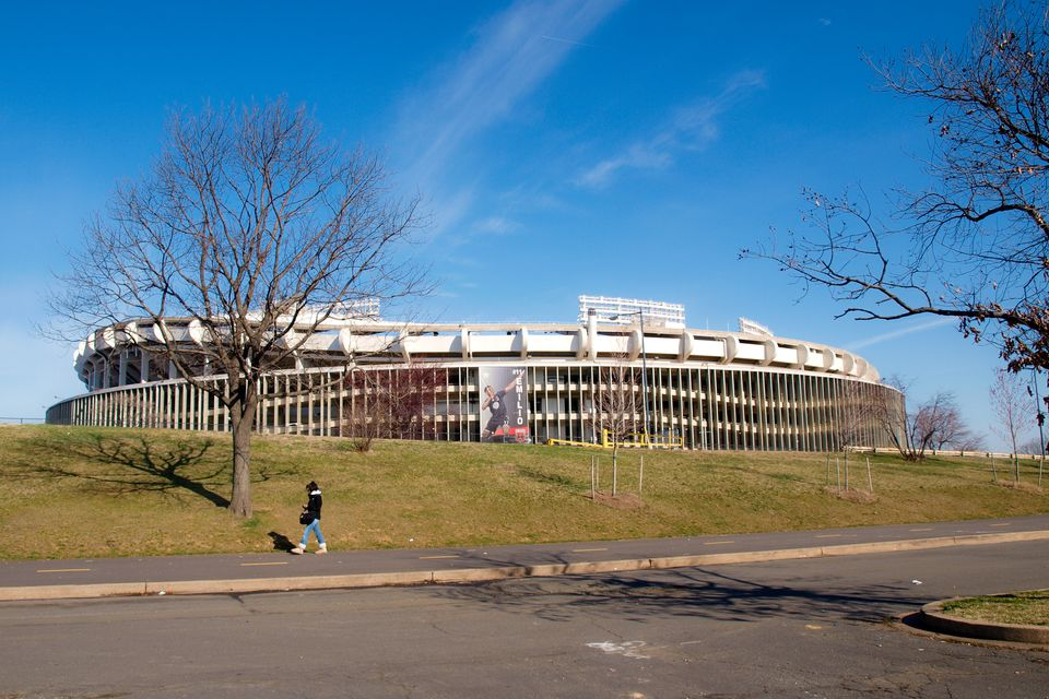 RFK Stadium as seen from across the street on a fall day