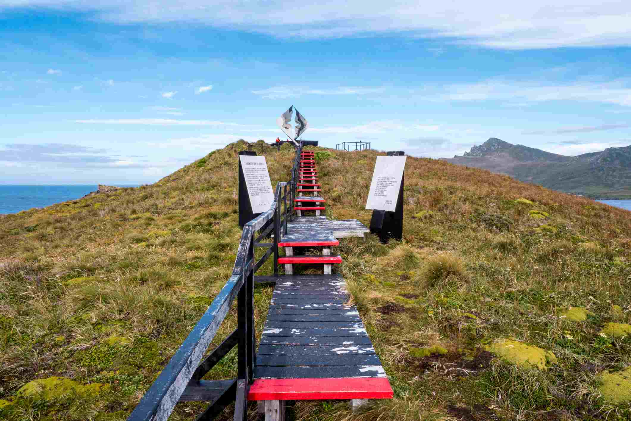 Walkway on Hornos Island leading to Albatross monument, Cape Horn, Chile