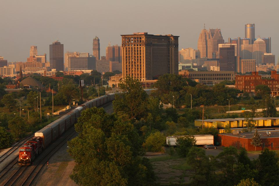 Elevated view of the Detroit skyline