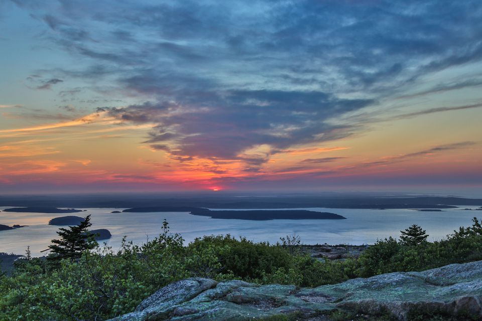 A view of the sun rise at Cadillac Mountain, Acadia National Park