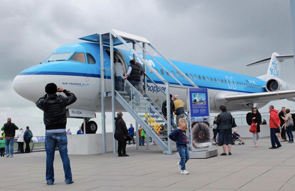 The KLM Fokker 100 at Amsterdam Schiphol Airport's Panorama Terrace.