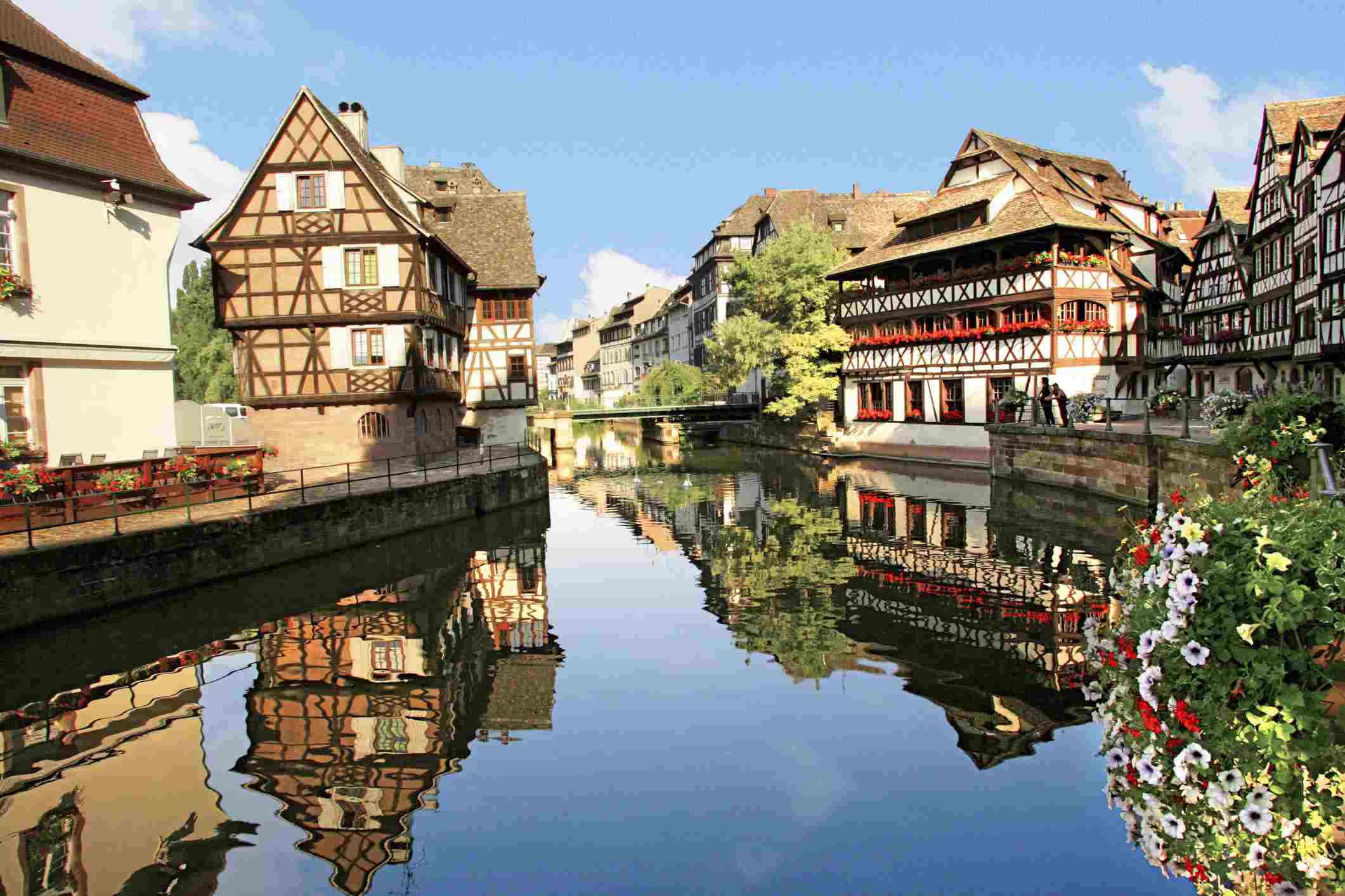 Timbered buildings, La Petite France Canal, Strasbourg, Alsace, France, Europe