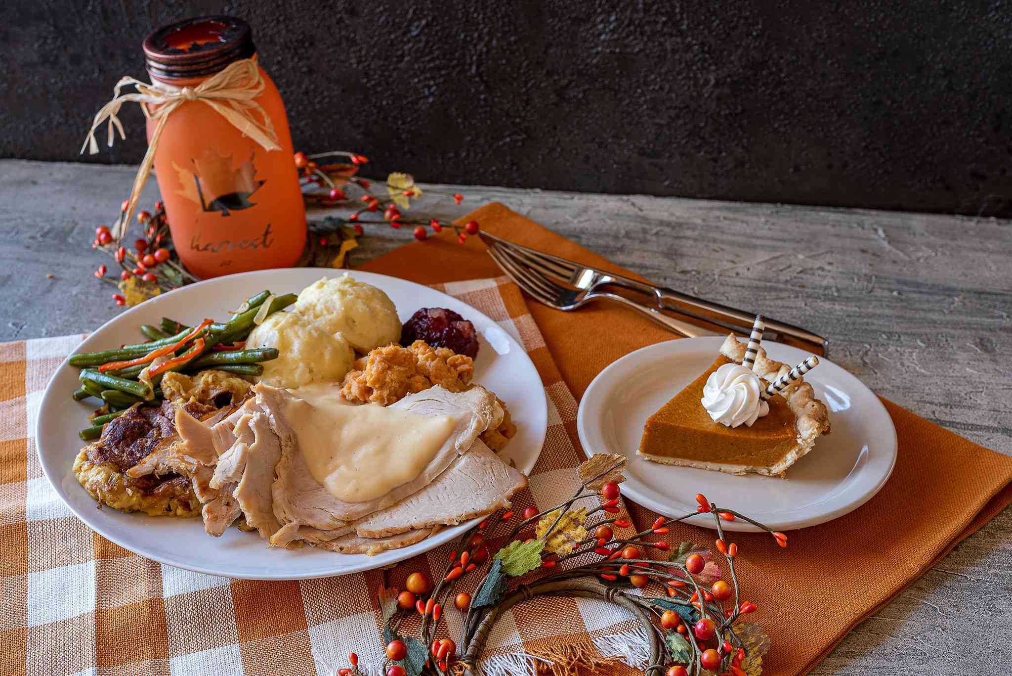 Thanksgiving meal with pumpkin pie at Chompie's