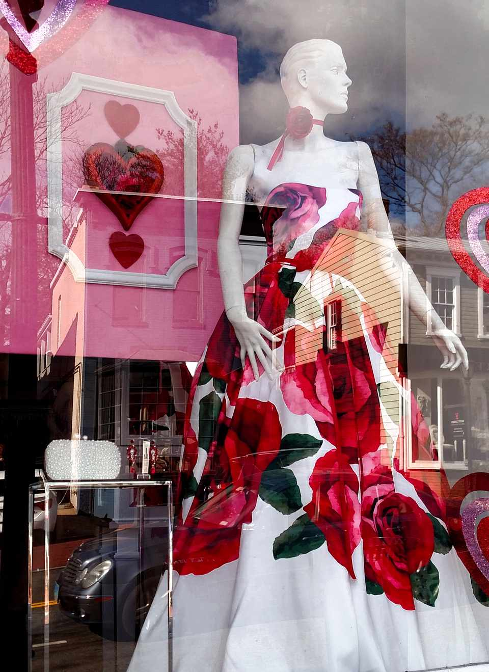 Storefront decorated for Valentine's Day in Washington DC