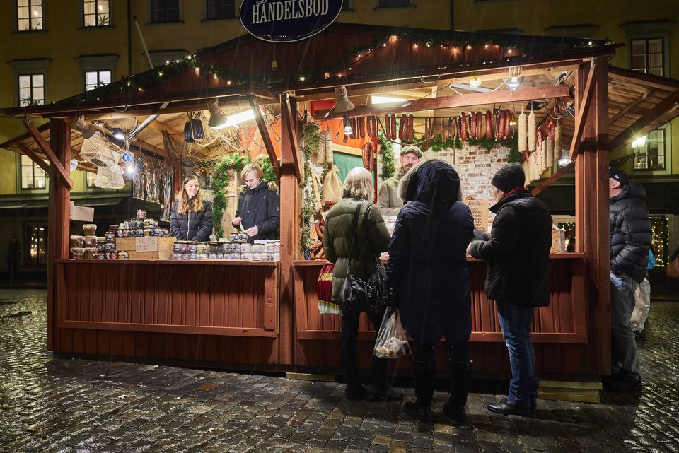 Christmas market at Stortorget in Gamla stan (old town). Stockholm