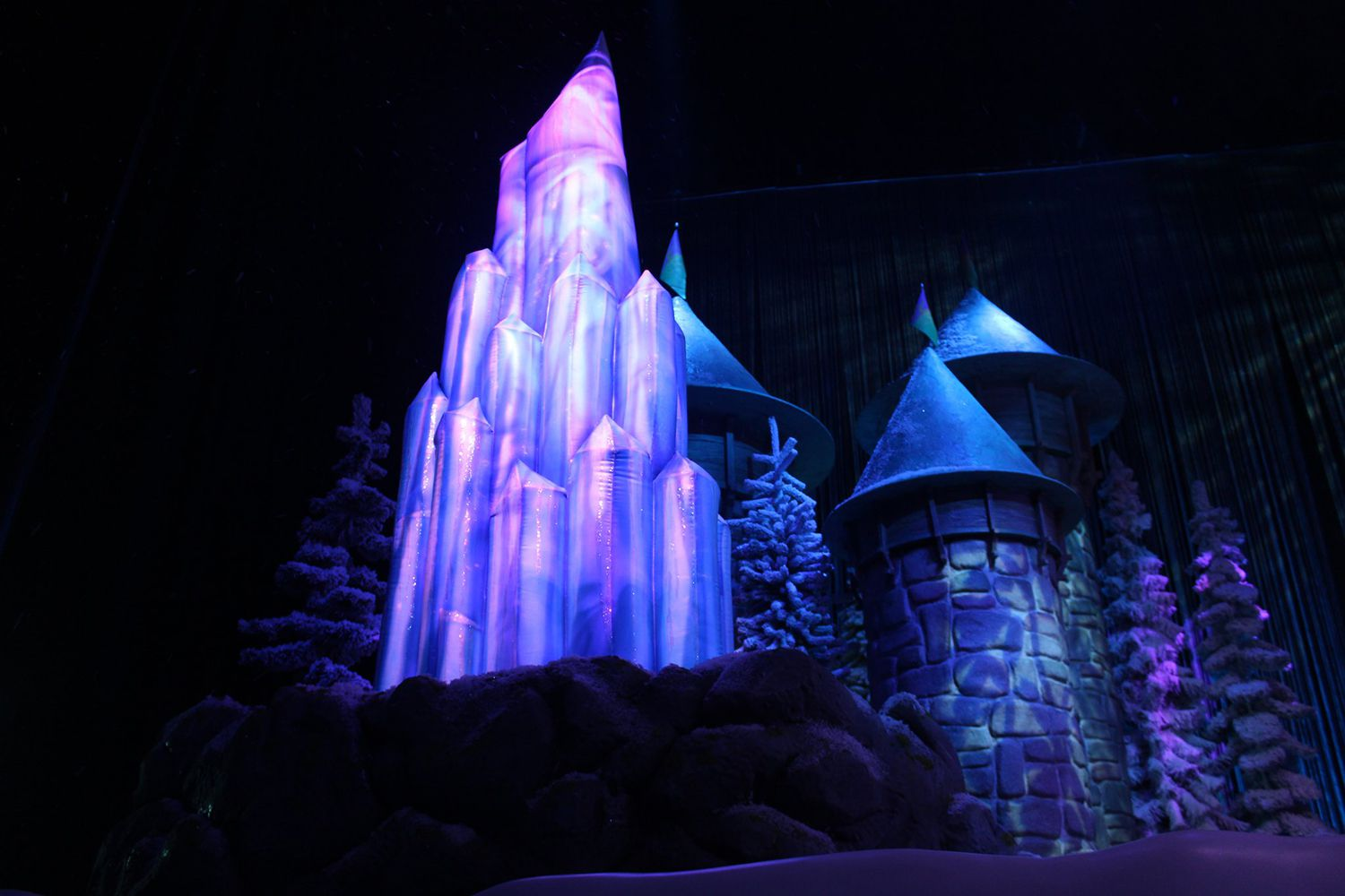 The castle set of Frozen on the stage at Disney's Hollywood Studios