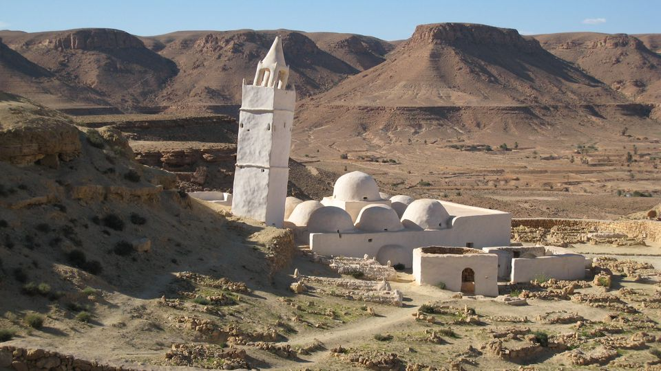 Chenini Mosque is nestled among hills in Southern Tunisia