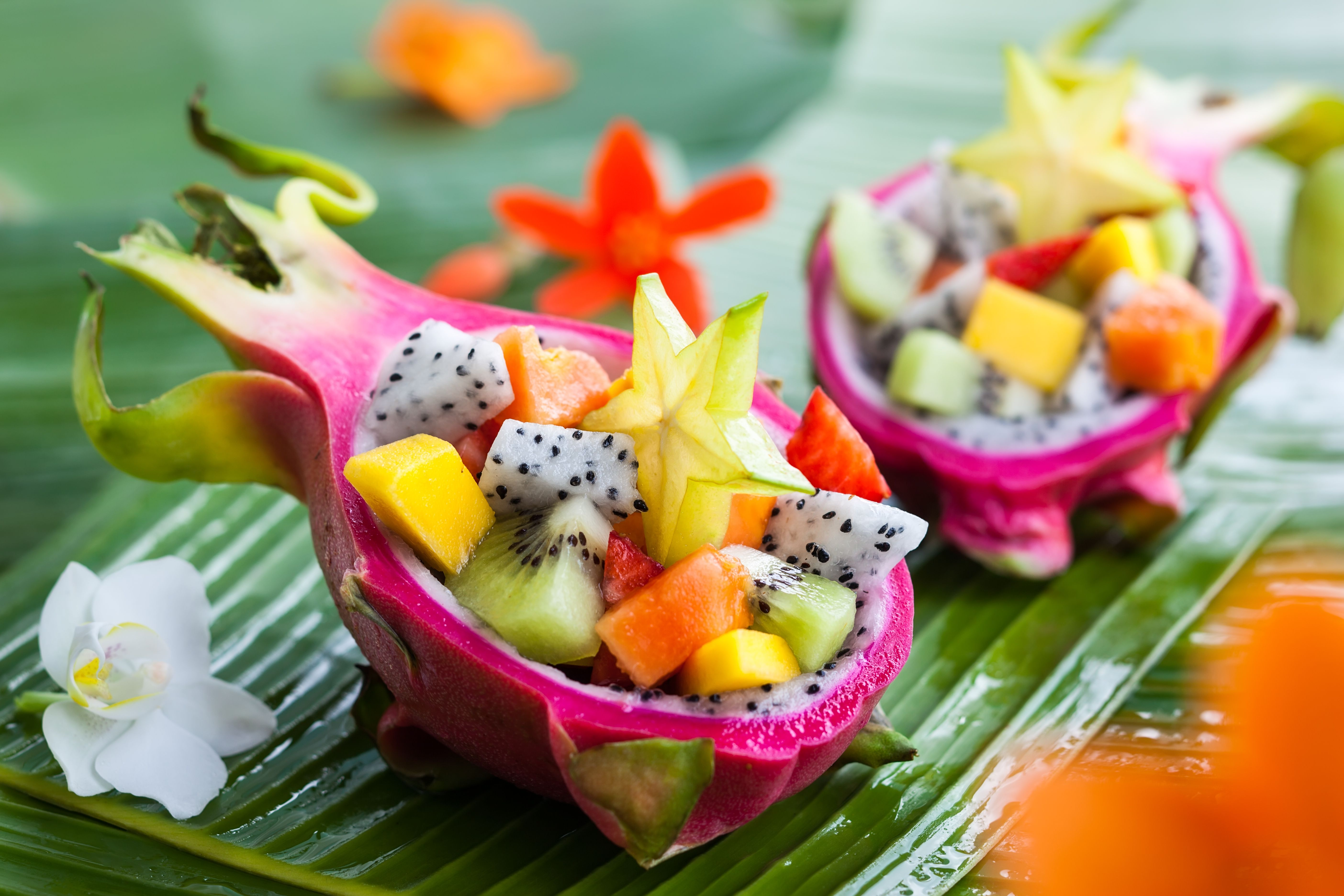 Creatively cut fruit for breakfast in Thailand