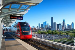 MetroRail Red Line makes a stop at the elevated Burnett Transit Center