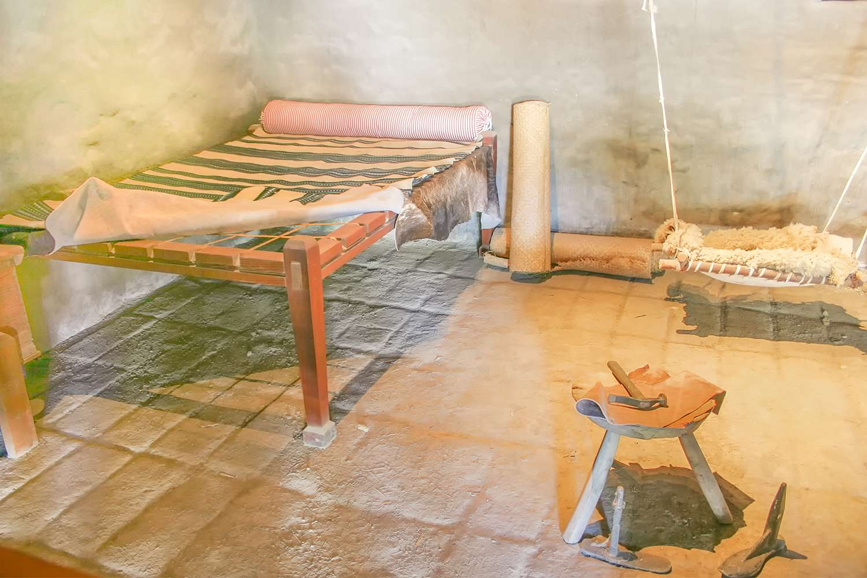 Indian sleeping area at Mission Santa Cruz