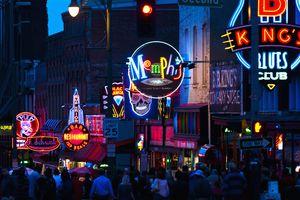 Illuminated signs on Beale Street in Memphis