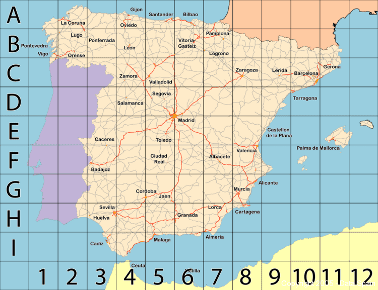 Large map of Spain
