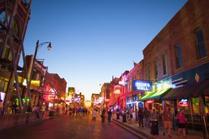 All the lights on Beale St. at night.