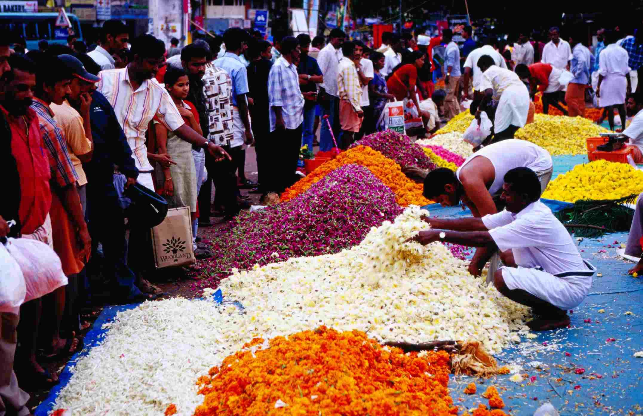Onam Blumenmarkt, Kerala.