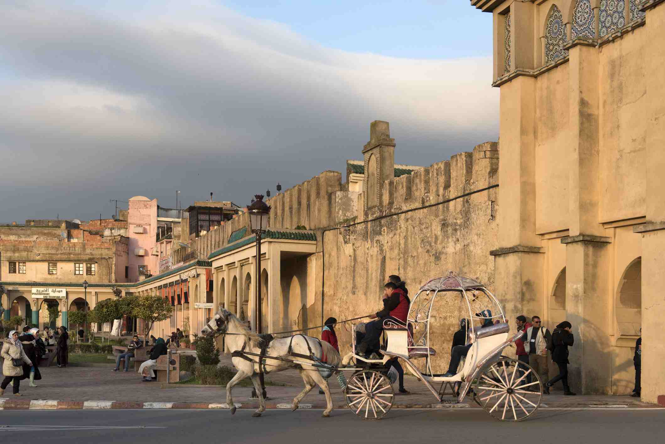 A horse-drawn carriage, or caleche in Meknes